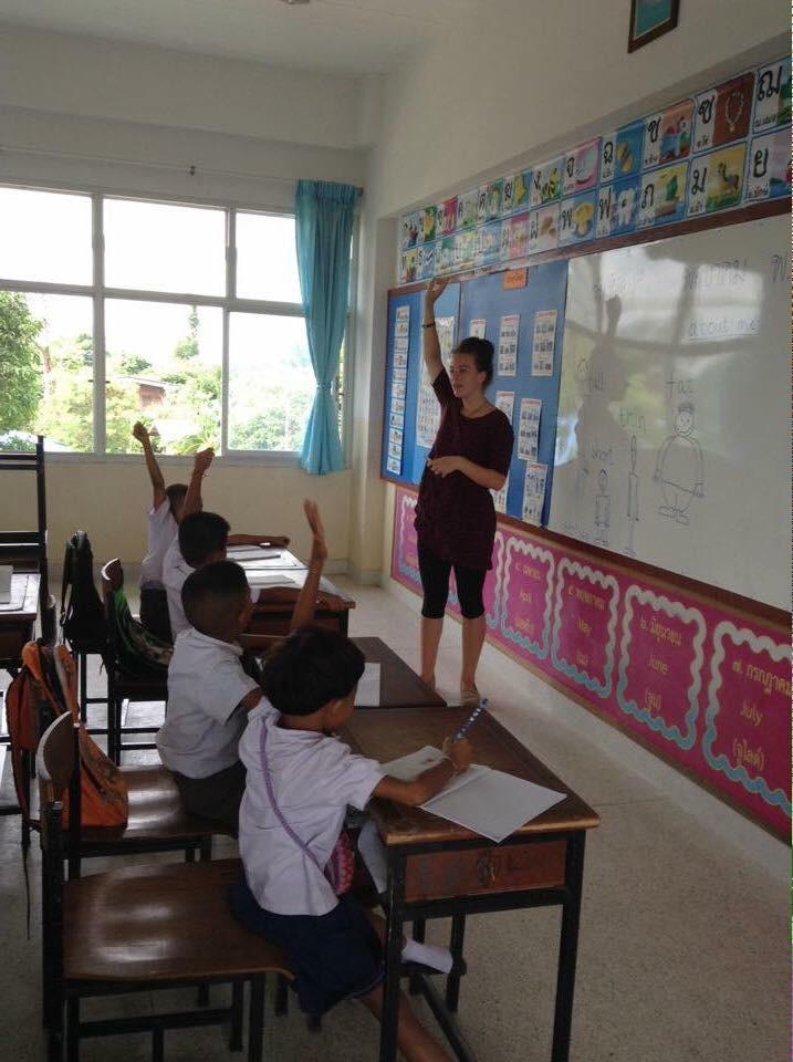 Phoebe teaching in Thailand
